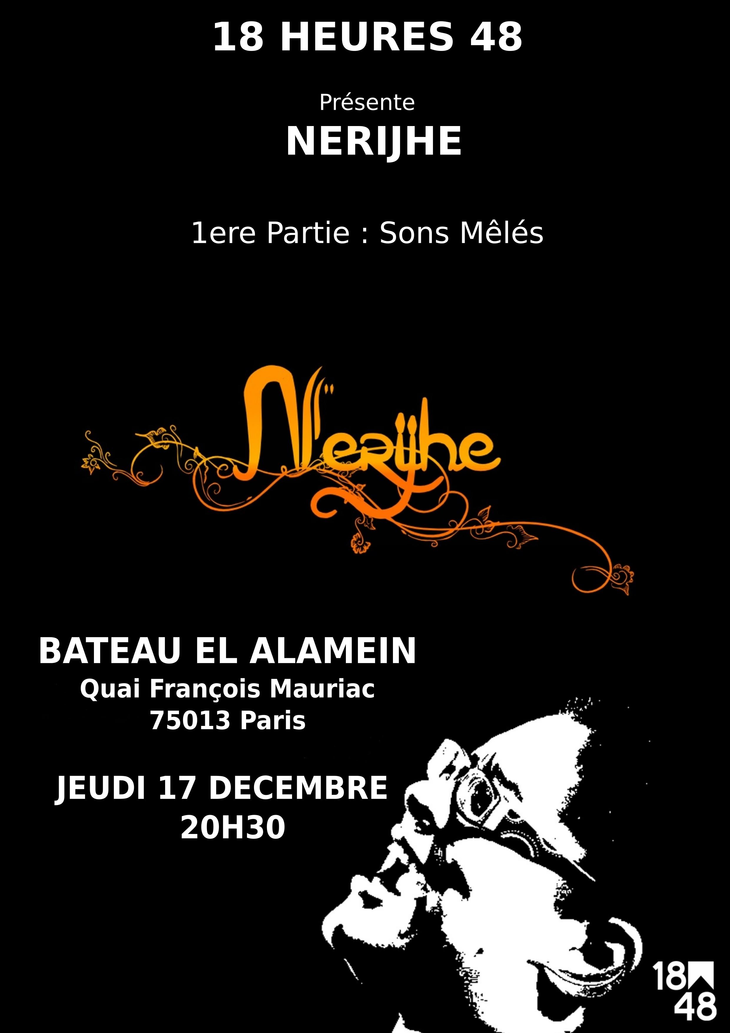 Nerijhe en concert au Bateau El Alamein le 17 décembre à 20h30